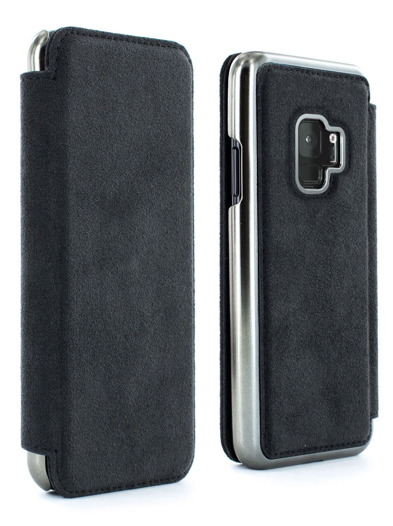 Front and back image of the Greenwich Samsung Galaxy S9 phone case in Alcantara