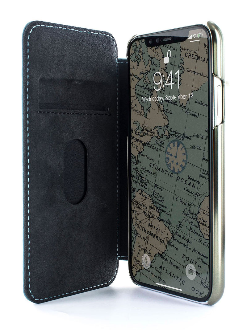 Inside image of the Greenwich Apple iPhone XS Max phone case in Tahiti Blue