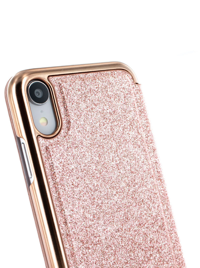 Detail image of the Ted Baker Apple iPhone XR phone case in Rose Gold