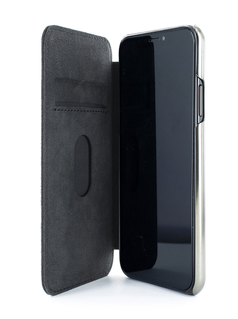WALKER Classic Alcantara Case for iPhone 11 Pro Max - BLACK/GUNMETAL