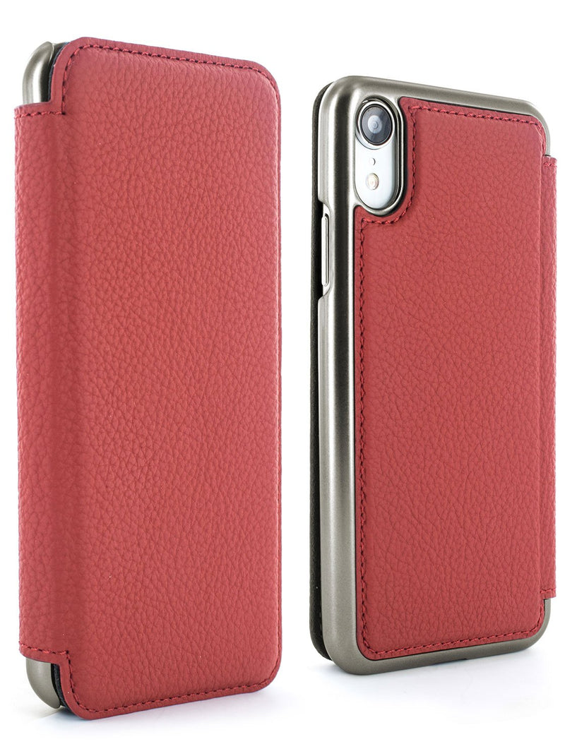 Front and back image of the Greenwich Apple iPhone XR phone case in Scarlet Red