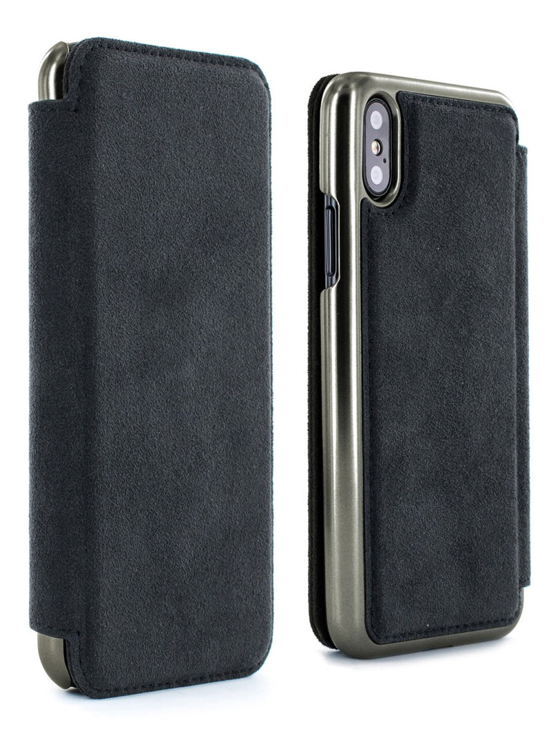 Front and back image of the Greenwich Apple iPhone XS / X phone case in Alcantara