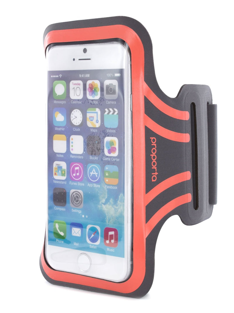 Detail image of the Proporta Universal Smartphone armband in Orange and Grey