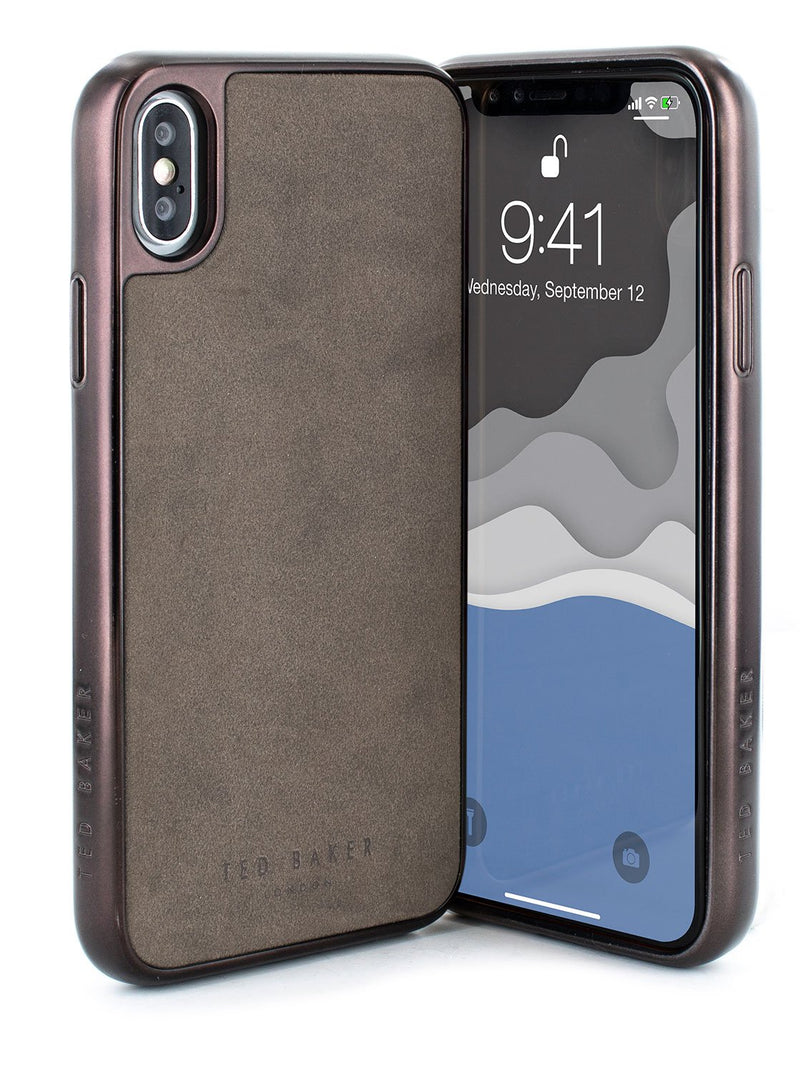 Front and back image of the Ted Baker Apple iPhone XS Max phone case in Grey