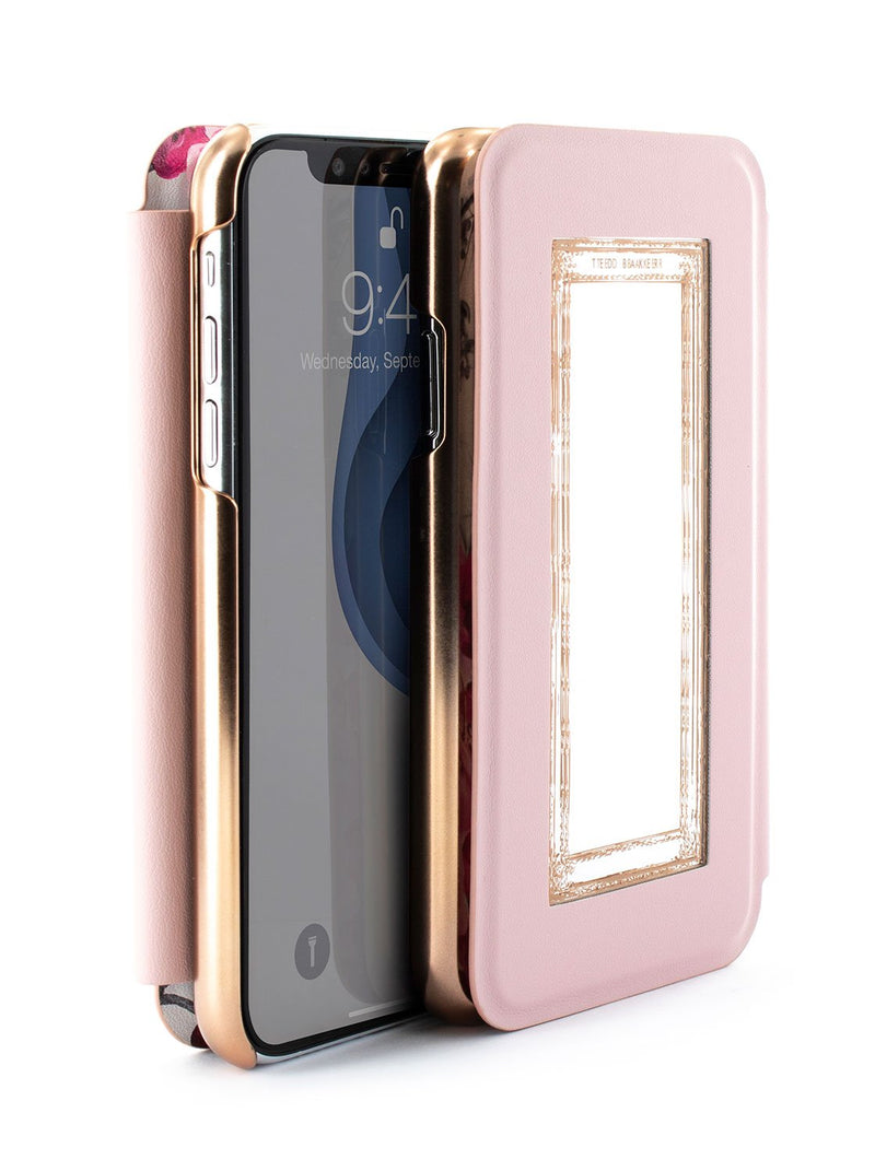 Flip-back front and back image of the Ted Baker Apple iPhone XR phone case in Babylon Nickel