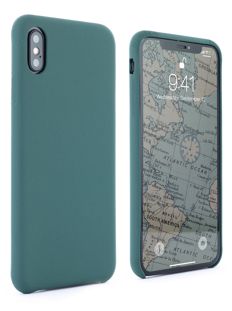 Front and back image of the Greenwich Apple iPhone XS Max phone case in Emerald Green