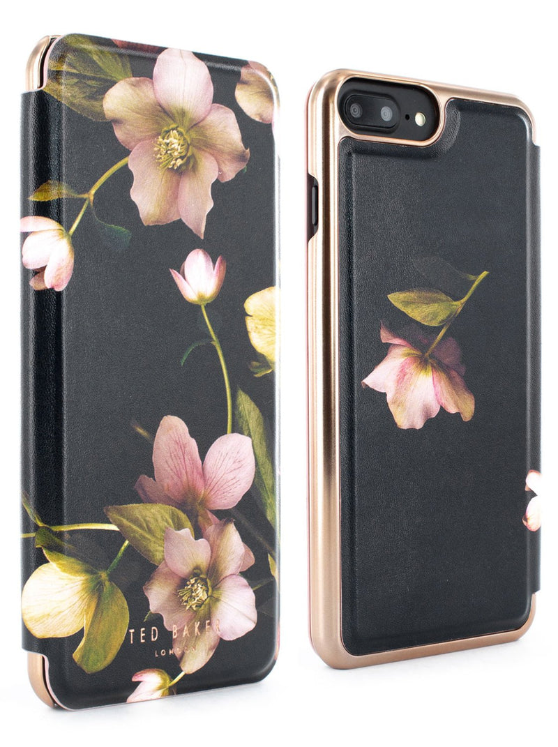 Front and back image of the Ted Baker Apple iPhone 8 Plus / 7 Plus phone case in Arboretum Black
