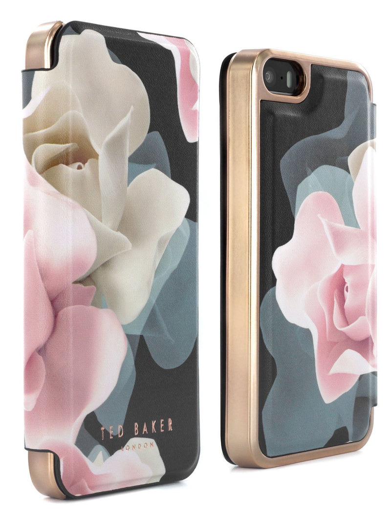 Front and back image of the Ted Baker Apple iPhone SE / 5 phone case in Black