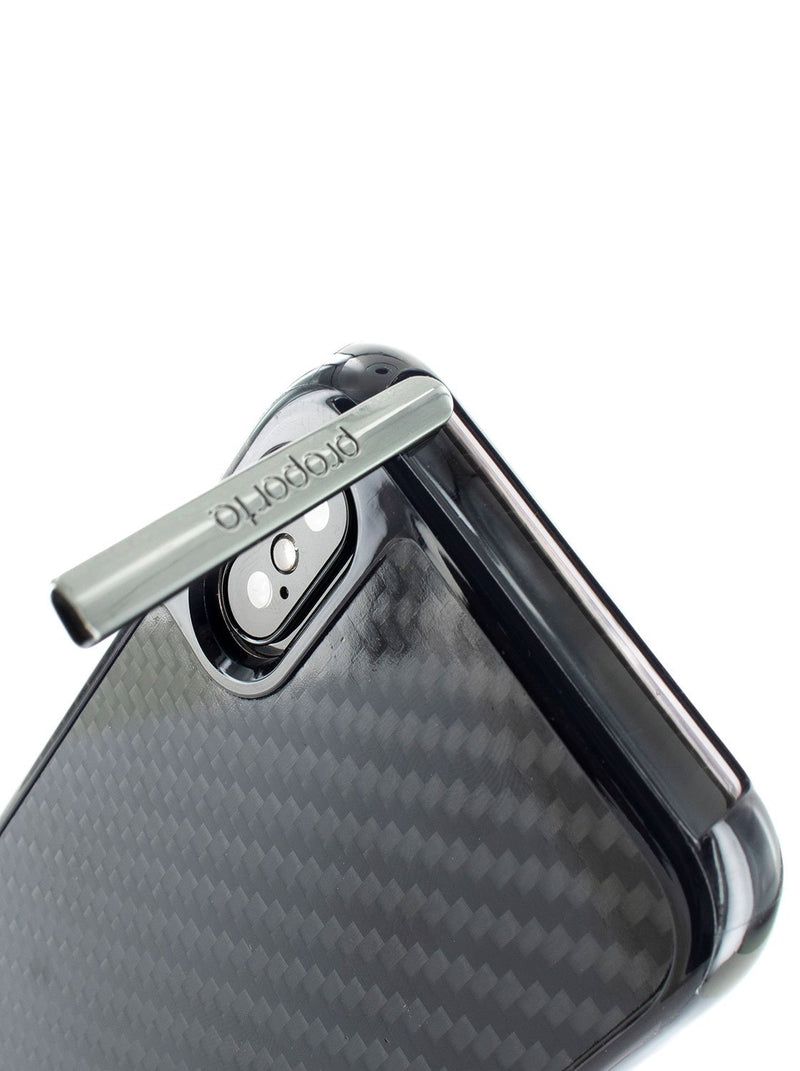 Kickstand detail image of the Proporta Apple iPhone XS Max phone case in Black