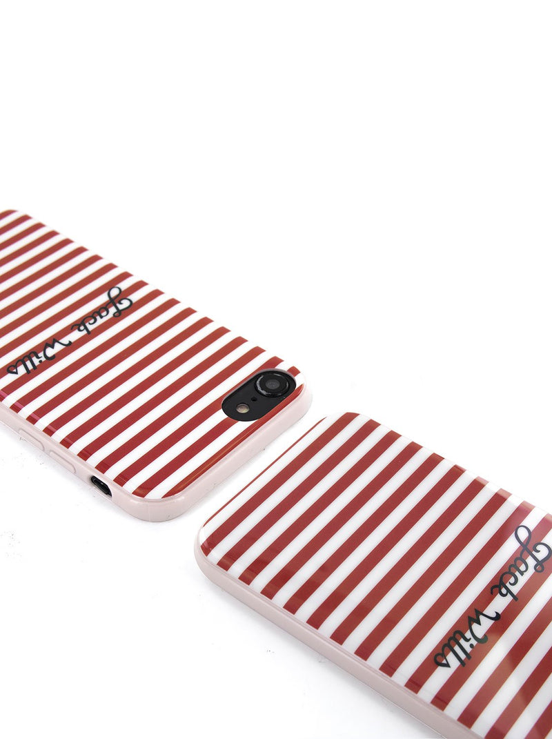 Top view image of the Jack Wills Apple iPhone 8 / 7 / 6S phone case in Red Stripe