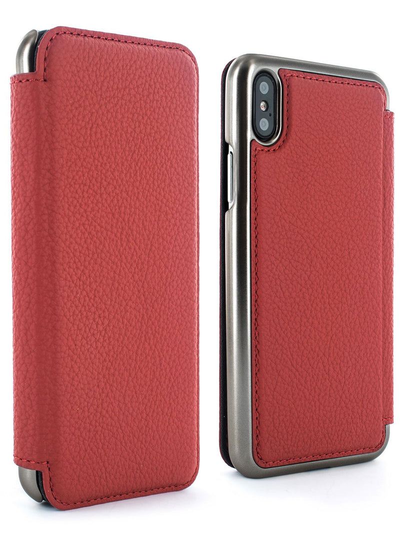 Front and back image of the Greenwich Apple iPhone XS Max phone case in Scarlet Red
