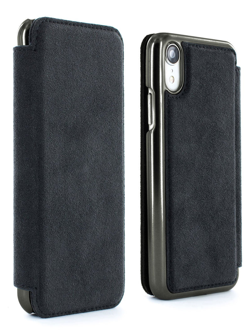 Front and back image of the Greenwich Apple iPhone XR phone case in Alcantara
