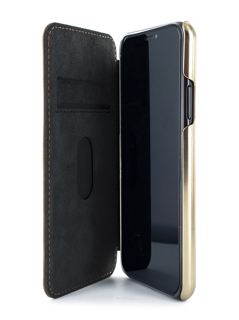 BLAKE Luxury Leather Case for iPhone 11 Pro Max - SADDLE (TAN)/GOLD