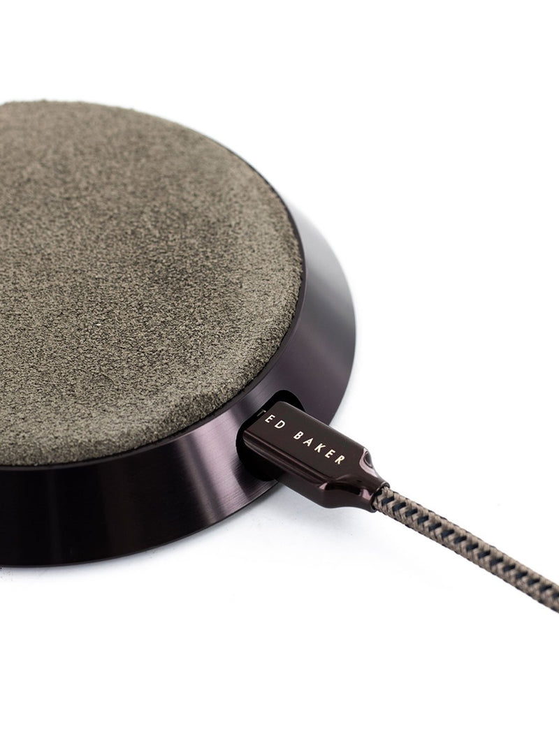 Connector detail image of the Ted Baker Universal wireless charger in Brown