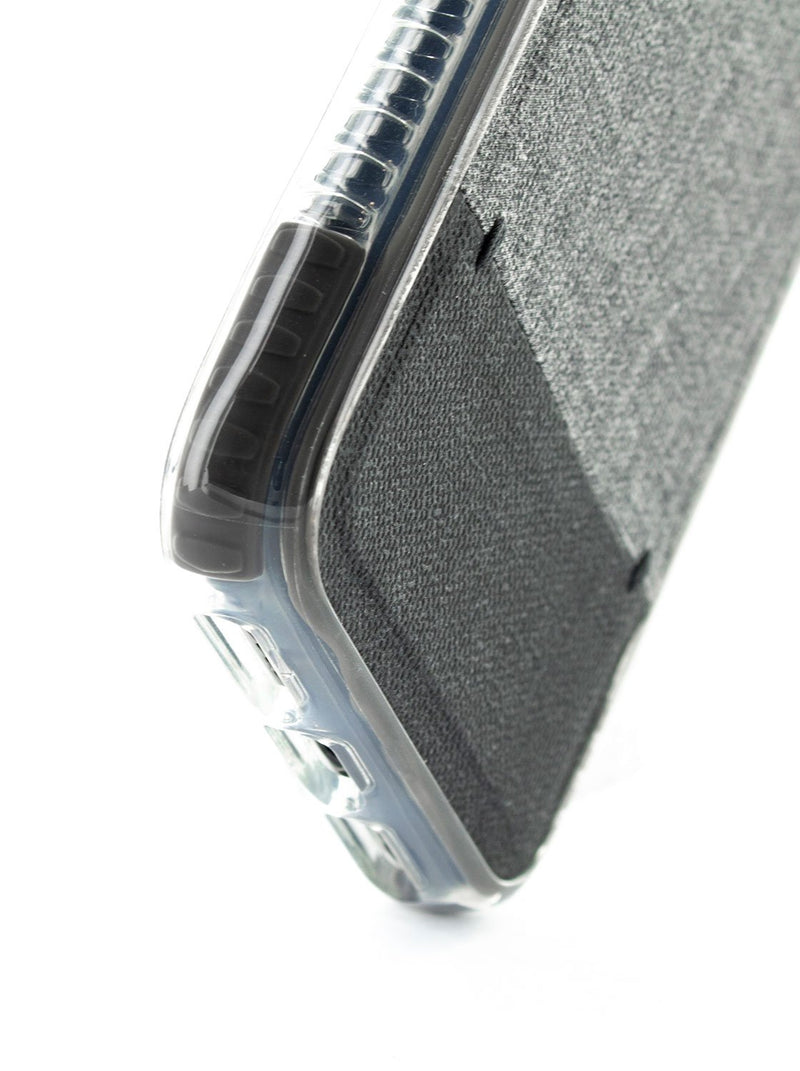 Bottom detail image of the Proporta Apple iPhone XS / X phone case in Grey