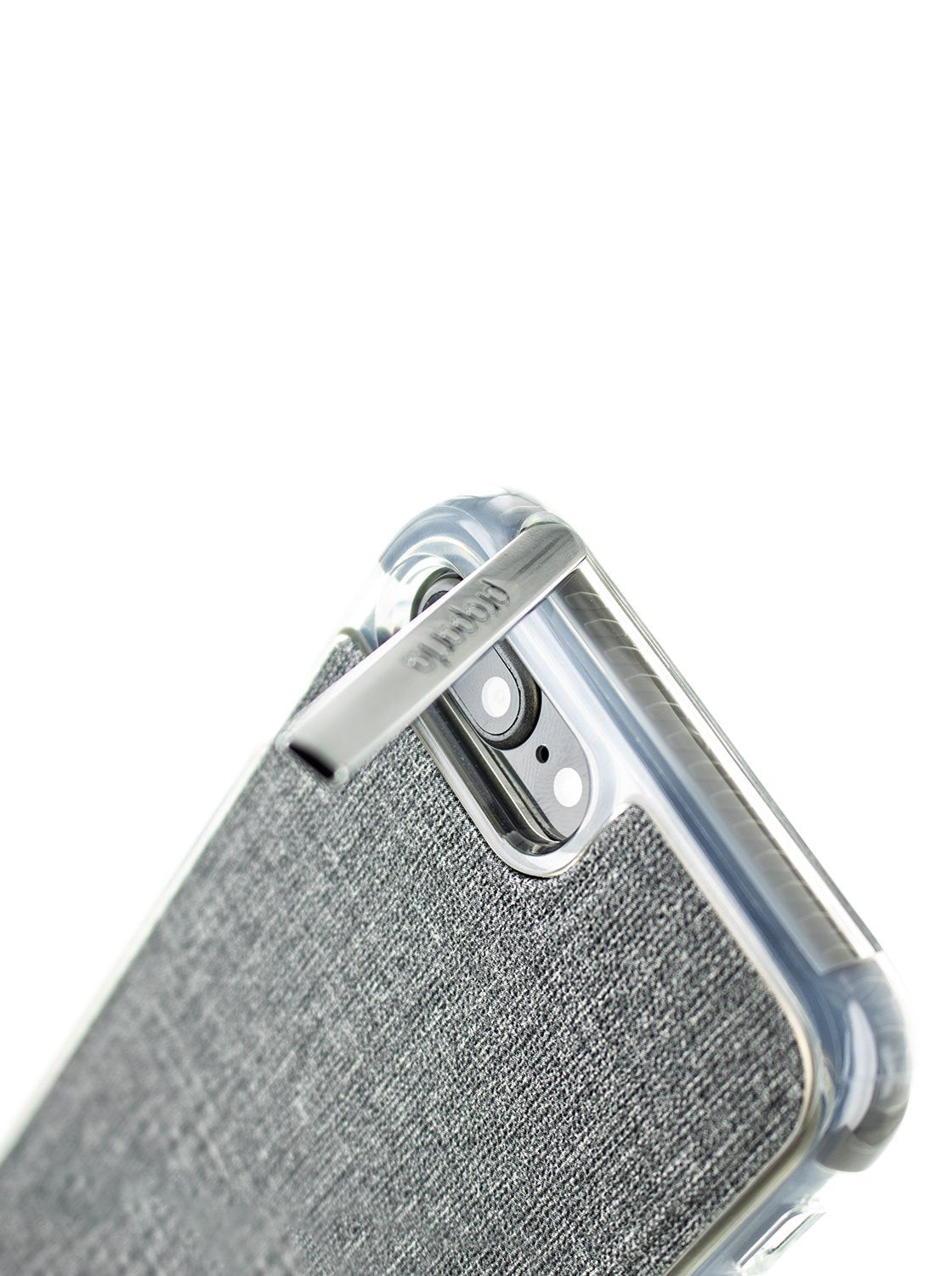 Kickstand detail image of the Proporta Apple iPhone 8 Plus / 7 Plus phone case in Grey