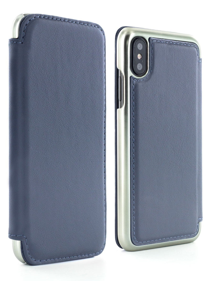 Front and back image of the Greenwich Apple iPhone XS / X phone case in Seal Grey