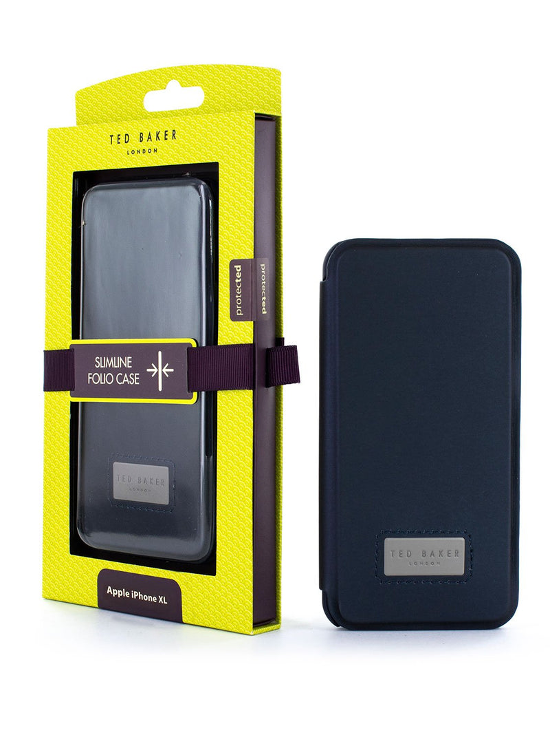 Packaging image of the Ted Baker Apple iPhone XS Max phone case in Navy Blue