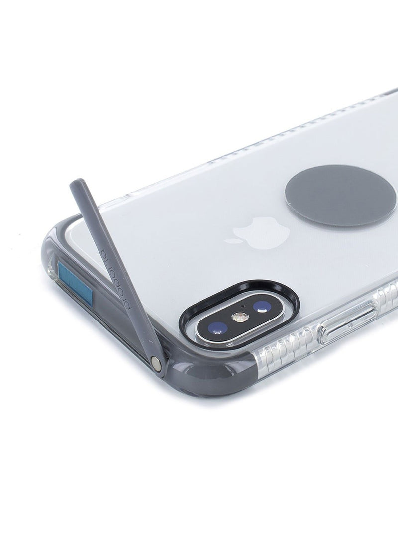 Kickstand detail image of the Proporta Apple iPhone XS / X phone case in Transparent