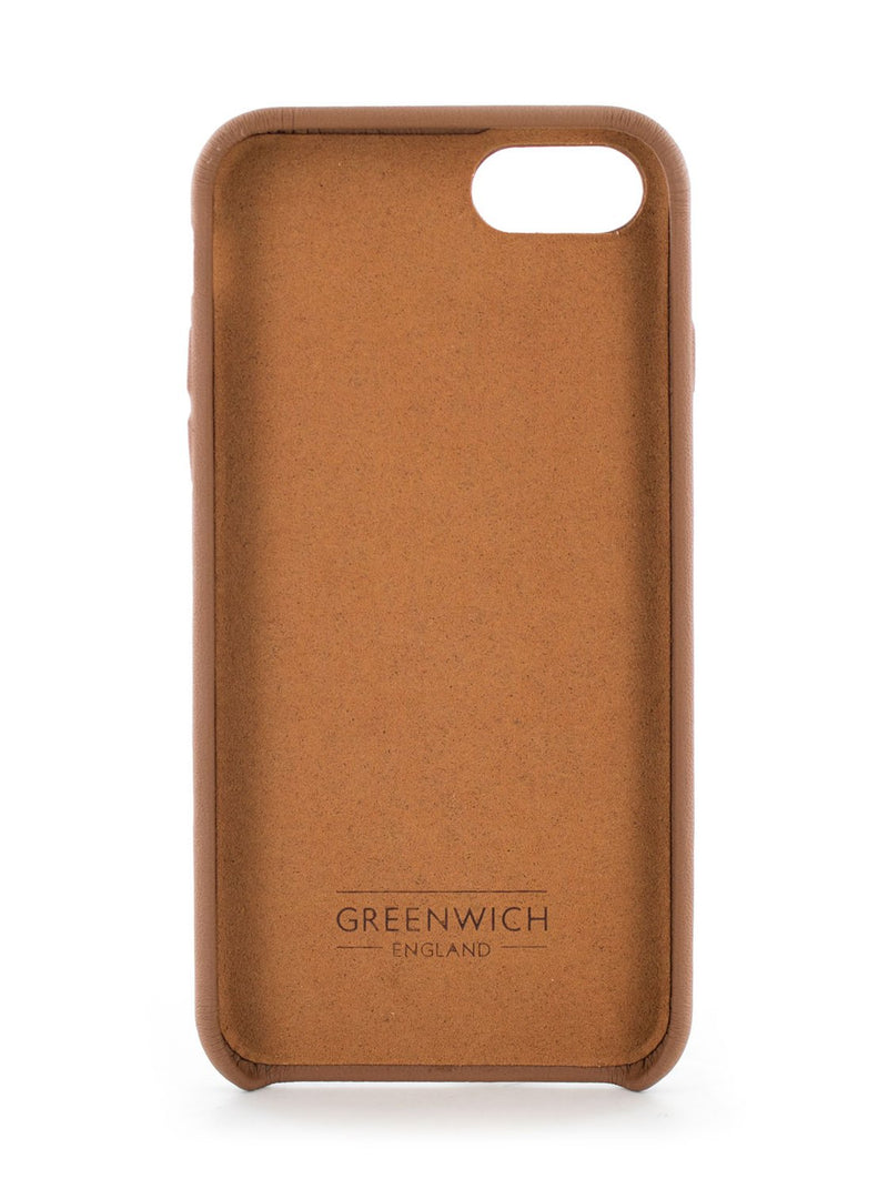 Inside image of the Greenwich Apple iPhone 8 / 7 / 6S phone case in Saddle Brown