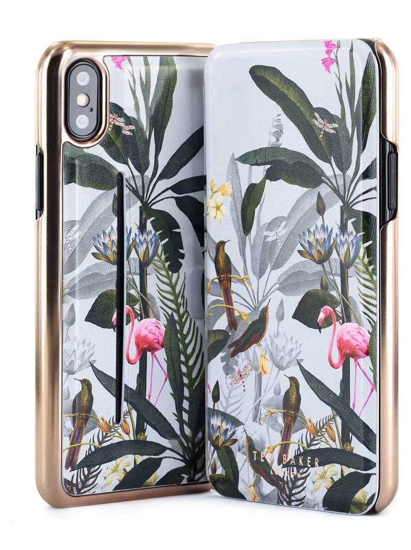 Front and back image of the Ted Baker Apple iPhone XS / X phone case in Grey