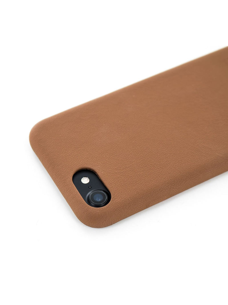 Face down image of the Greenwich Apple iPhone 8 / 7 / 6S phone case in Saddle Brown