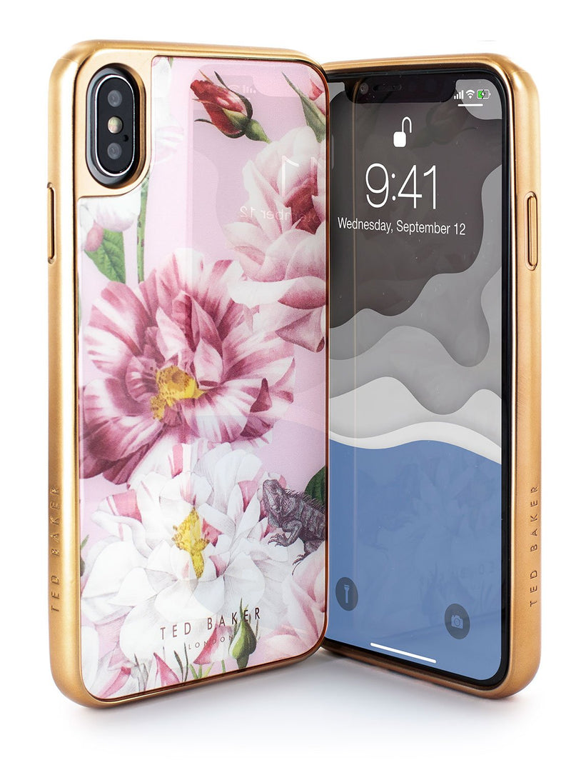 Front and back image of the Ted Baker Apple iPhone XS Max phone case in Pink