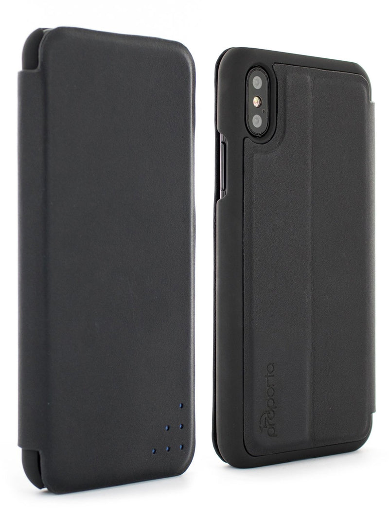 Front and back image of the Proporta Apple iPhone XS / X phone case in Black