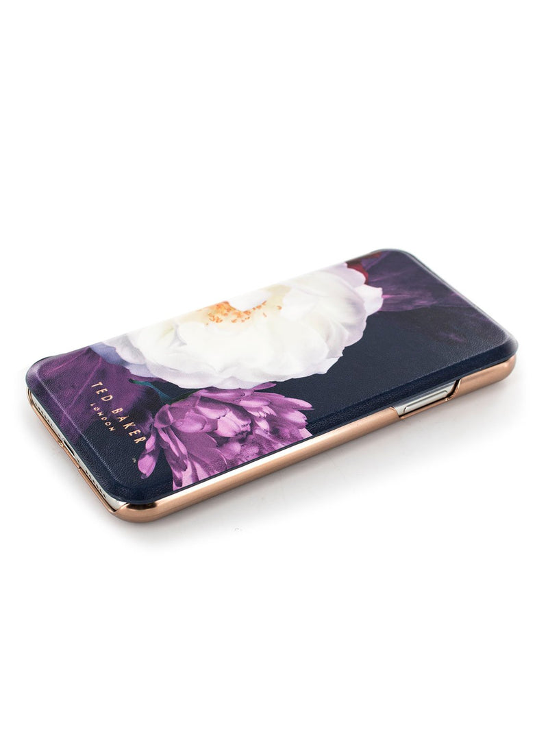 Face up image of the Ted Baker Apple iPhone XS / X phone case in Dark Purple