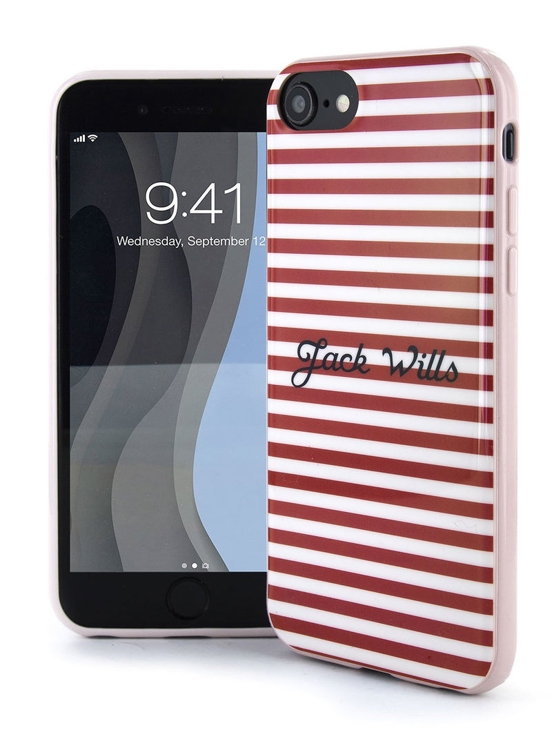 Front and back image of the Jack Wills Apple iPhone 8 / 7 / 6S phone case in Red Stripe