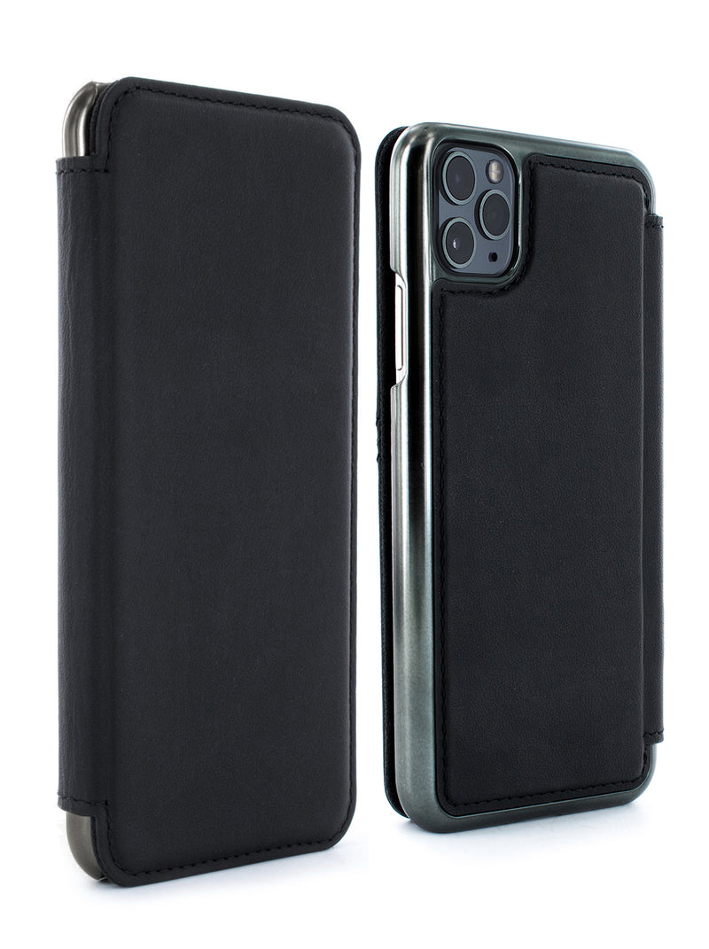 BLAKE Luxury Leather Case for iPhone 11 Pro Max - BELUGA (BLACK)/GUNMETAL