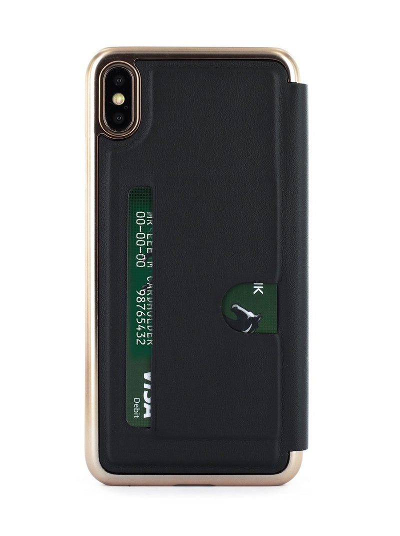 Back card slot image of the Ted Baker Apple iPhone XS Max phone case in Black