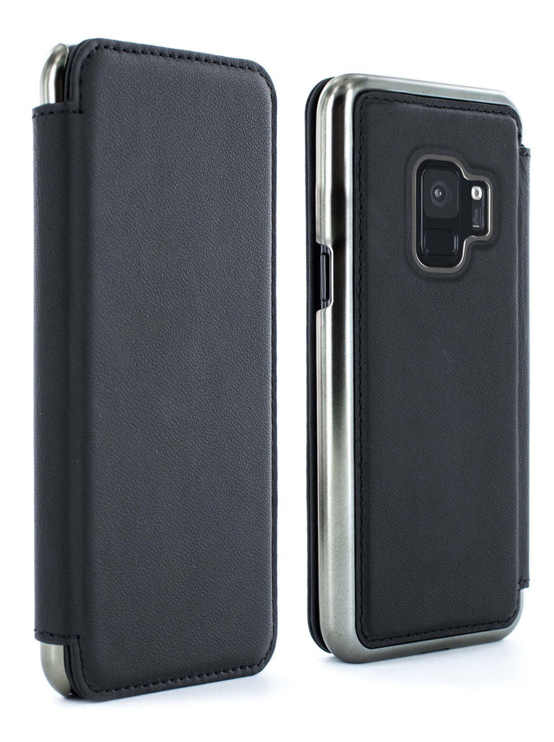 Front and back image of the Greenwich Samsung Galaxy S9 phone case in Beluga Black