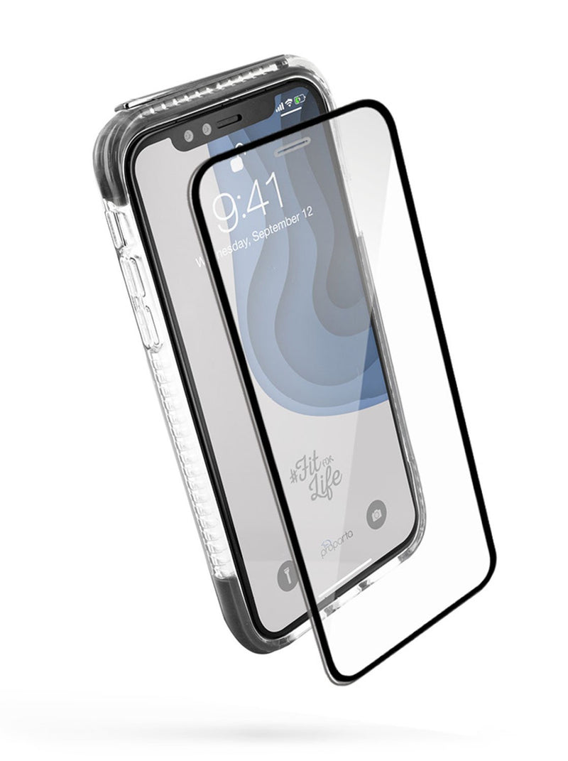 Front with screen protector image of the Proporta Apple iPhone XR phone case in Grey