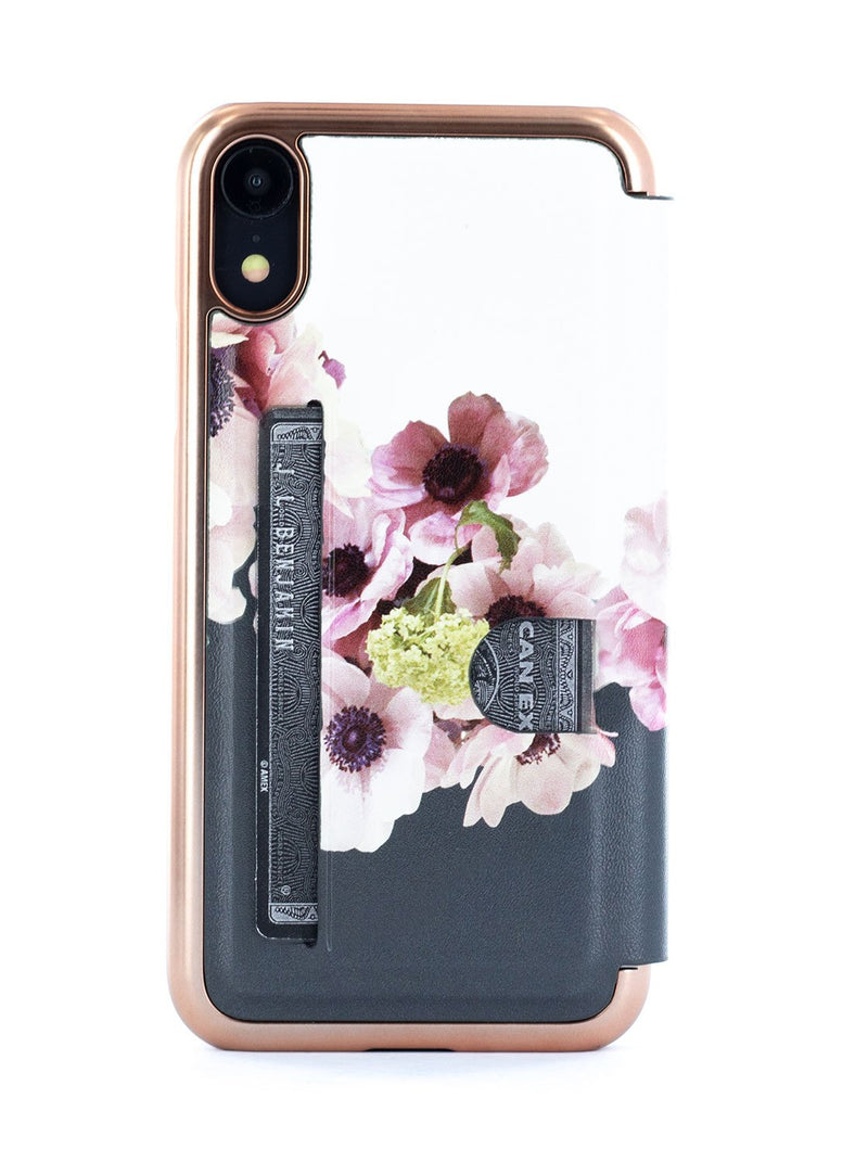 Back card slot image of the Ted Baker Apple iPhone XR phone case in Black