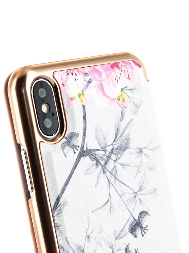 Detail image of the Ted Baker Apple iPhone XS / X phone case in Babylon Nickel