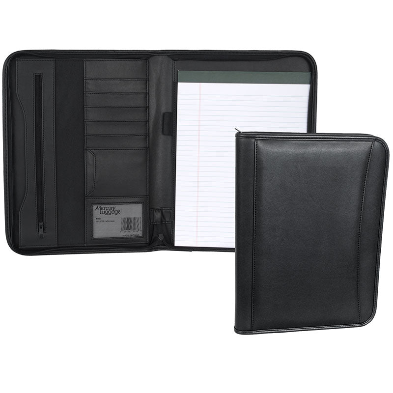 Zippered Padfolio- Black Simulated Leather