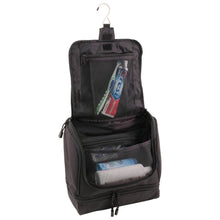Load image into Gallery viewer, Opened main compartment holding toothbrush, toothpaste, shampoos, and deodorants - Hanging Shave Kit- Black