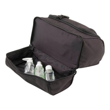 Load image into Gallery viewer, Opened bottom pouch with small soap bottles - Hanging Shave Kit- Black