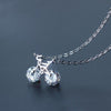 Silver Mini Bike Diamond Necklace