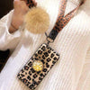 LEOPARD HAIR BALL PHONE CASE