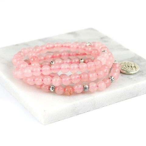 "Mala Beads - Pink Natural Stone ""Love"" - healing-waves"