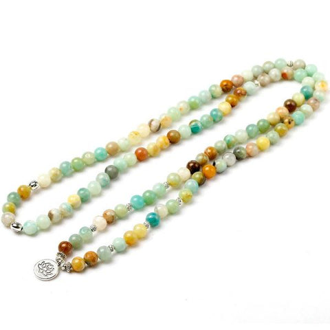 "Mala Beads - Amazonite Natural Stone ""Ancient"" - healing-waves"