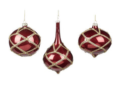 EKRISMIS RED AND GOLD GLASS DIAMANTE ENCRUSTED BALL DROP 16CM