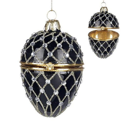 Ekrismis Black glass netted faberge egg box with jewel (9cm)