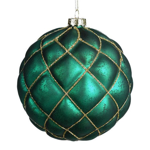 Ekrismis Blue, green & gold glass 3D diamante ball (12cm)