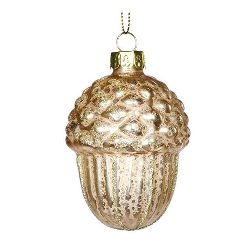 Ekrismis Cream & gold glass acorn (7cm)