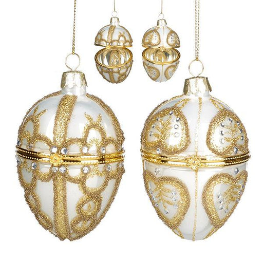 Ekrismis Cream & gold glass egg faberge box with jewel swirl - 2 assorted shapes (9cm)