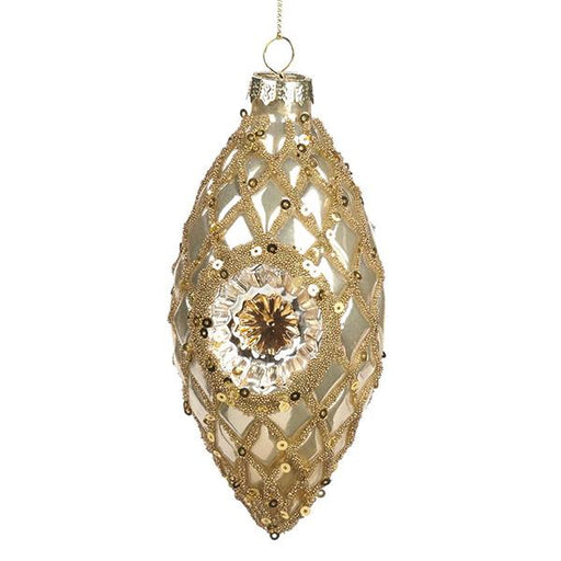 Ekrismis Cream & gold glass sequined ornament with diamante reflector finish (12cm)