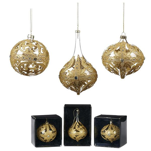 Ekrismis Gold glass ball drop with lace cross finish - 3 assorted shapes (16cm)